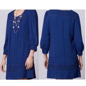 Leifsdottir Cruz peasant long sleeve dress blue 0